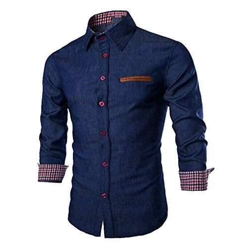N\P La primavera y el otoño de los hombres casual manga larga camisa de mezclilla/masculino interior a cuadros vaqueros blusas