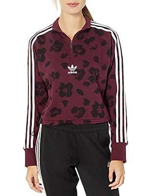 adidas Originals Women's Sweater Sweatshirt, Maroon/black, X-Large