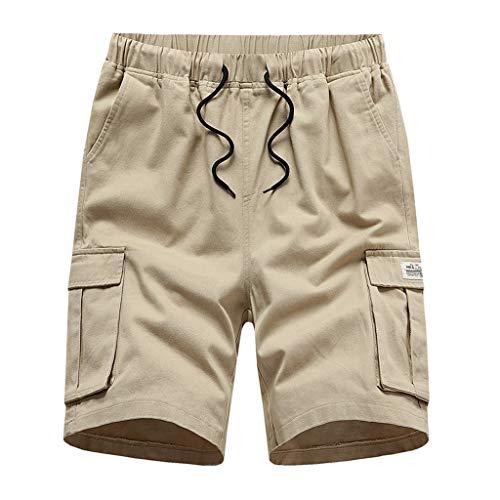 VEKDONE Shorts for Men Casual Elastic Waist Outdoor Summer Shorts Comfy Workout Shorts Big and Tall Beach Shorts(Y-Khaki,4X-Large)