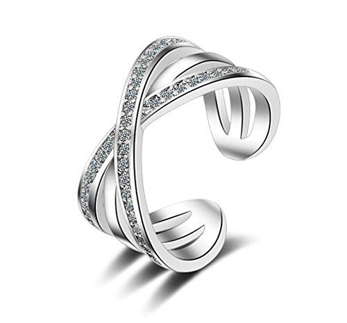 Boowohl - Anillos de asociación de plata de ley 925 ajustable con cruz de cristal y circonitas, anillos de compromiso y de pareja para aniversario