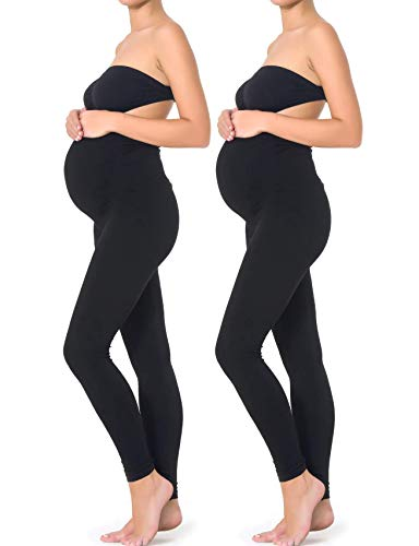 MOTHERS ESSENTIALS Maternity Pregnant Women Leggings (M-2PACK, Black)