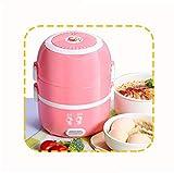 SSNG Tragbar Brotdose, Scatola per il pranzo elettrica, per tragbarer Durchlauferhitzer, Mini-Reiskocher, con 2 tasche laterali, colore: Rosa