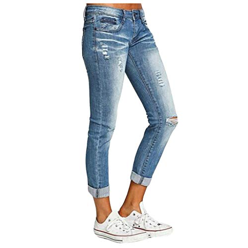 Moonite Women's Ripped Boyfriend Mom Jeans Cute Distressed Jeans Stretch Skinny Jeans with Hole Middle-waisted