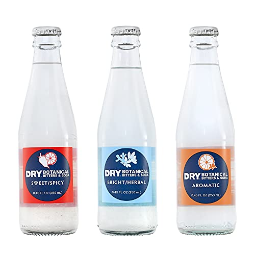 DRY Alcohol-Free Botanical Bitters & Soda  Ready To Drink Non-Alcoholic Cocktail   Zero Alcohol   Zero Sugar   12 pack, 8.45 oz bottles (Variety Pack)