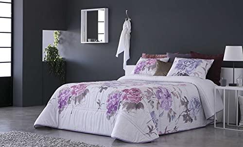 SANDECO - Edredón Conforter Lerida Estampado con 2 Fundas de Cojín - Cama 180 - Color Malva C01