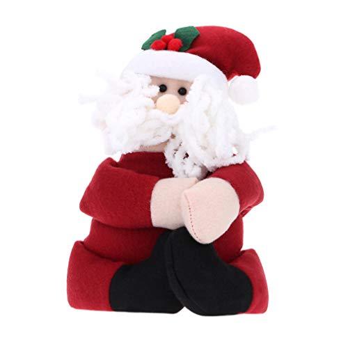 unknow Ristiege Navidad botella de vino decoración de dibujos animados mano sosteniendo botella de vino bolsa bolsa Santa Claus muñeca regalo de Navidad, Santa Claus