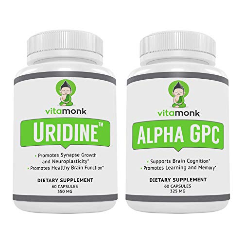 Alpha GPC and Uridine Stack - Mr Happy Stack - Uridine Monophosphate with No Artificial Fillers - Bioavailable Choline Supplements Promote Cognition, Focus, Mental Clarity and Dopamine Receptor Health
