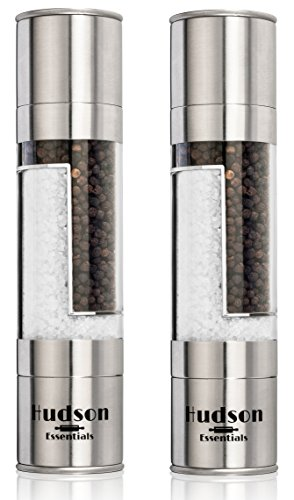 Hudson Deluxe 2 in 1 Salt and Pepper Grinder Set - Ceramic Blade & Stainless Steel - Set of 2...