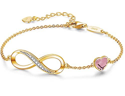 Beforya Paris – Top 10 colores dorados Mujer Corazón Pulsera – Plata 925 – Hermosa brillante pulsera con corazón de cristal – Regalo para San Valentín, cumpleaños, Día de la Madre (Crystal AB)