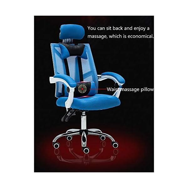 RUNXIAN E-Sports silla de ordenador ergonómico silla de oficina que compite con la computadora Silla respaldo y el asiento ajustable Altura de la silla reclinable con la almohadilla mecedora reclinabl
