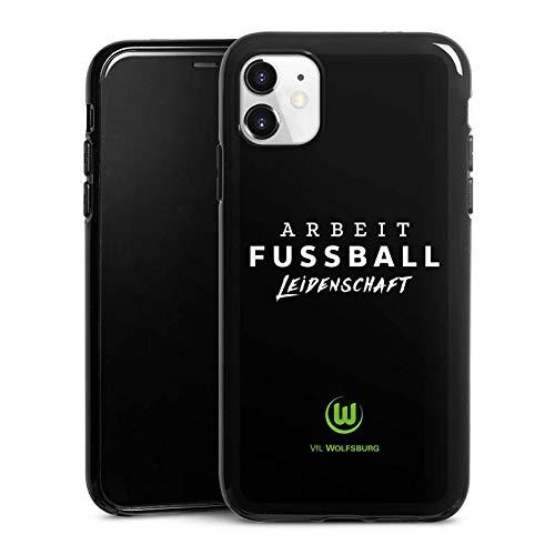 DeinDesign Silikon Hülle kompatibel mit Apple iPhone 11 Case schwarz Handyhülle VFL Wolfsburg Offizielles Lizenzprodukt Statement