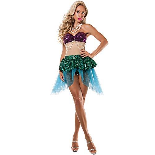 NNW Halloween Outfits Erwachsener kostümiert Halloween-Kostüm Frau Mermaid Stage Performance Outfits Anzug Uniformen Rollenspiel Frauen Spiel Kostüme,L