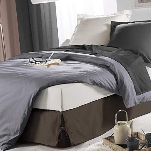 J&K Markets Bettvolant mit Bändern, 140 x 190 cm, Taupe, Polycotton, Hotelqualität