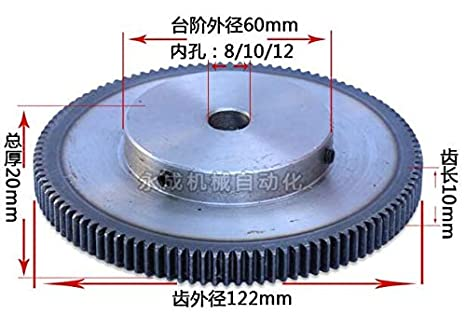 Fevas Spur Gear Rack Pinion 48T 48Teeth Mod 1 M=1 Bore 8mm 10mm 12mm 15mm Staight Teeth Positive Gear 45#Steel CNC Transmission RC Hole Diameter: 10mm