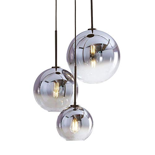 HJXDtech Farbverlauf Glas Lampenschirm, E27 Schraubenhalter Pendelleuchte Glaskugel Licht Schatten Ion Silber (30cm)