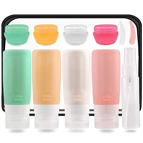 Hsytek Lot de 11 flacons de voyage en silicone pour produits de toilette, shampooings, spray, mini tubes de voyage certifiés TSA