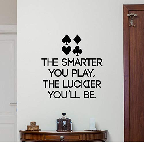 Poker Quote Muursticker Lettering Spelen Casino Vinyl Sticker Game Art Decor Muurschildering Voor Casino Decoratie Huisdecoratie 42x44cm