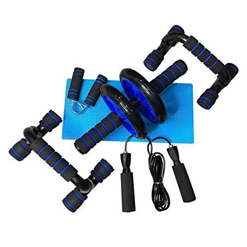 Unycos Kit de roue abdominale, Push Up Bars, corde à sauter, renfort de mains, rouleau Mat pour entraînement à la maison Exercices Fitness (Bleu)