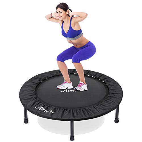 MOVTOTOP Fitness Trampoline 40 Inch, Foldable Mini Trampoline for Adults and Kids with Safty & Anti-Skid Pads Exercise Rebounder Workout Max Load 265lbs, Black