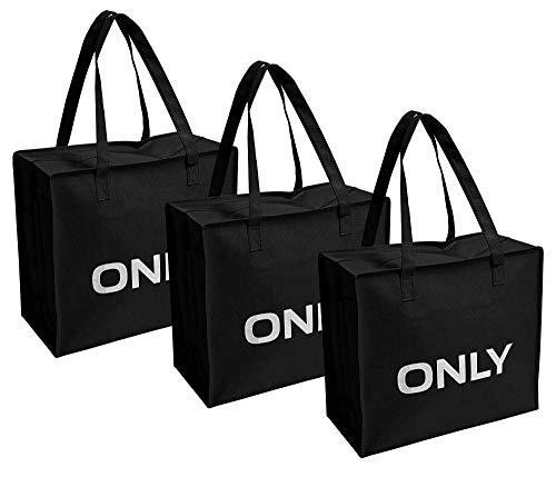 ONLY TASCHE 3er Pack Shopping Bag Umhänge Shopper Einkaufs Schulter Tasche Neu (3er Pack schwarz)