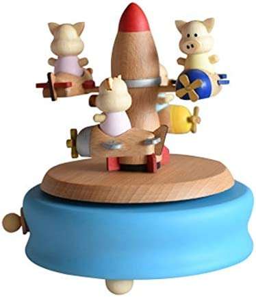 Nostalgie Musical Box Spaceship Hand-Pain Factory outlet Wooden Cheap super special price Music Piggy