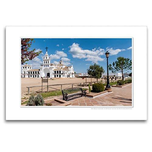 CALVENDO Lienzo de Tela Premium 120 cm x 80 cm, Horizontal, un Motivo del Calendario Emocional: El Rocio - España, Famoso Lugar de la Cartera. Lienzo con impresión en Lienzo Glaube; Calvento Glaube.