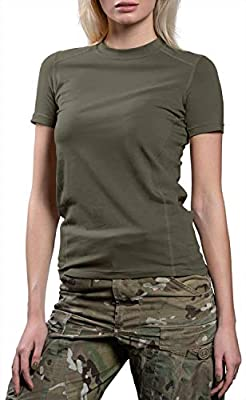 281Z Womens Military Stretch Cotton Underwear T-Shirt - Tactical Hiking Outdoor - Punisher Combat Line (Olive Drab, Medium)