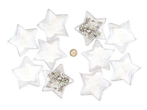 Set aus 10 Stück Acrylformen große Sterne teilbar 10 cm Durchmesser durchsichtige Kugel zum Aufhängen transparente Acrylkugeln Formen zum Befüllen Aufhängen Kunststoff Kugel von CRYSTAL KING