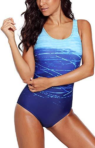 Achruor Badeanzug Damen Bauchweg Sport Bademode Rückenfrei mit Gürtel Strandanzug Push up Schlankheits Schwimmanzug, Blau, XXL