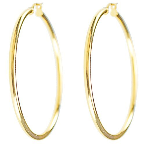 Ohrringe Kreolen, echtes Gelbgold, Durchmesser: 4,5cm, für Damen