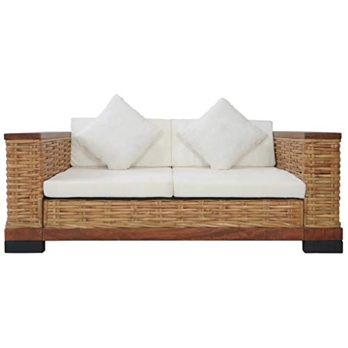 PlimPlom Rattan Sofa Für Den Garten Oder Balkon 2 Sitzer Sofa Aus Natur Rattan Und Mangoholz Mit Kissen Gartensofa