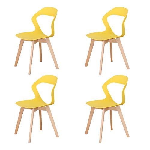 GroBKau, set di 4 sedie semplici e moderne in plastica per soggiorno, sala da pranzo, ufficio, sala riunioni, ristorante, ecc.