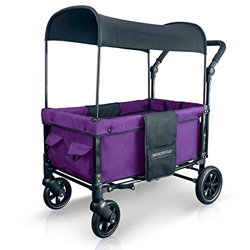 WonderFold Multi-Function 2 Passenger Push Folding Stroller Wagon, Adjustable & Removable Canopy, Double Seats with 5-Point Harness (Cobalt Violet)