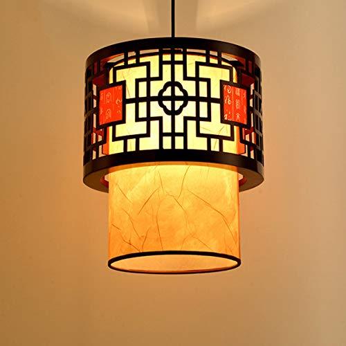 OSALADI Retro estilo chino linterna luz colgante oriental luz de techo lámparas clásicas con bombilla para la decoración casera