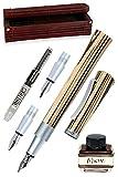 Kalligrafie-Füllhalter mit Tintenglas und Konverter