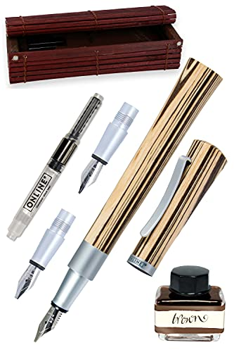 Online 37712 - Juego de plumas estilográficas (1,4 mm, agarres 0,8 y 1,8 mm, frasco de tinta marrón y convertidor, caja de bambú)