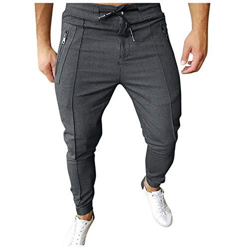Desconocido Pantaloni da uomo casual KOL autunno inverno zip multitasche, grigio, M