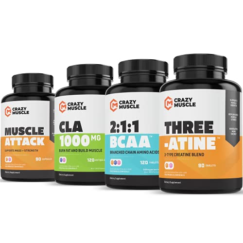Get Ripped Stack (4 Supplement Bundle) by Crazy Muscle: Shred Weight - Build Lean Muscle - Cutting Stacks & Bundles Can Be Used PreWorkout/Post Workout for Men and Women - 420 Pills Pack