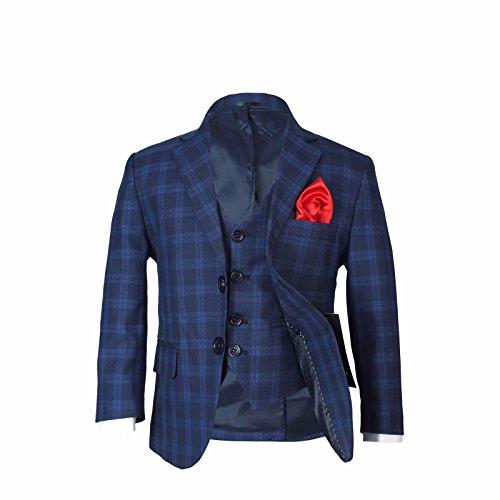 SIRRI Jungen Kariert Marine Anzuge & Rot Krawatte Kinder Kariert Blau Marine Anzug