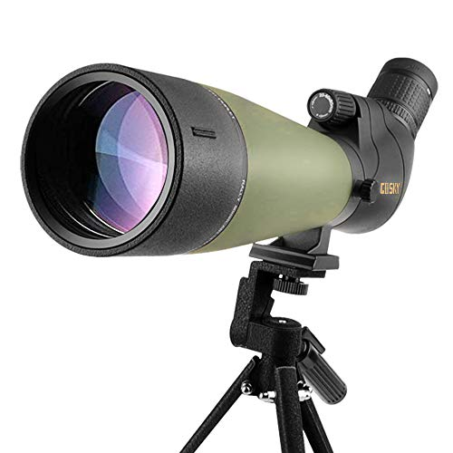 Gosky Newest 20-60x80 Waterproof Spotting Scope with Tripod, CarryBag and Smartphone Adapter -BAK4 Angled Telescope-for Bird Watching,Shooting&Hunting