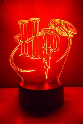 Lámpara led 3D de Harry Potter, colores, lámpara para mesa de noche, cambio automático, interruptor táctil, decoración escritorio, mando a distancia