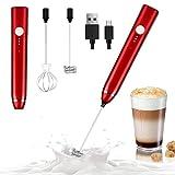Dallfoll Espumador de Leche Eléctrico, USB recargable batidor eléctrico, vaporizador de leche, Bubbler leche para Latte, capuchino, huevo batidoo (Rojo)