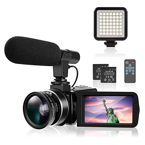 4K Camcorder TYCKA Ultra HD Camcorder Video Camera with Microphone LED Fill Light for YouTube...
