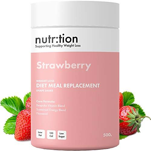 Nutr:Tion Strawberry Meal Replacement Shakes - Weight Loss Control & Energy - Unique for Women - High Protein, Low Calorie & Low Sugar - Suitable for Vegetarians - Highest Quality UK Made