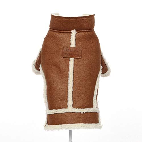 Huisdierkleding, herfst- en winterjassen van lamsvacht voor katten en honden, tweebenige herfst- en winterkleding van warm katoen voor katten en honden, geschikt voor kleine honden en katten,, Large, bruin