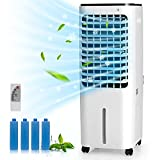 COSTWAY Evaporative Cooler, Include Remote Control, 4 Ice Packs, Bladeless Fan with 4 Wind Modes, 3 Speeds, 7.5H Timer, 12L Water Tank, LED Display, Portable Air Cooler for Indoor Use, Bedroom, White