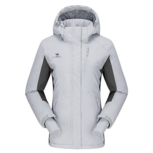 CAMELSPORTS Women's Waterproof Mountain Ski Snow Jacket with Fleece Outdoor Windproof Raincoat Hooded for Fall and Winter