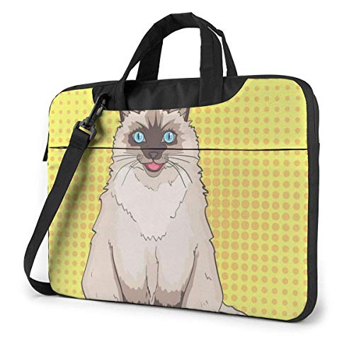 Pet Siamese Laptop Sleeve Case 15.6 Pulgadas Computer Tote Bag Shoulder Messenger Maletín para Viajes de Negocios