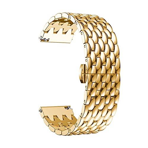 YDL Strap De 22 Mm De Reloj De Reloj para Huawei Watch GT 2 / GT2 / GT 2E Banda Inteligente Banda De Pulsera De Acero Inoxidable Pulsera De Aleación para Galaxy Watch 46mm (Color : Gold, Size : 22MM)