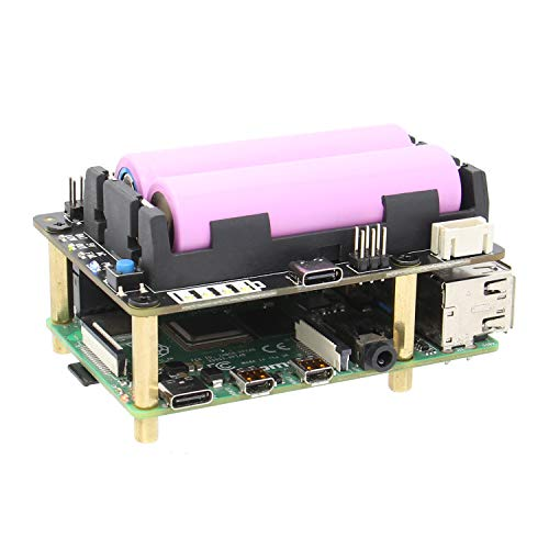 Geekworm Raspberry Pi UPS, X728 (Max 5.1V 8A) 18650 UPS & Power Management Board with AC Power Loss Detection, Auto on & Safe Shutdown & RTC Function for Raspberry Pi 4B/3B+/3B